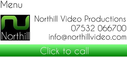 Top left is a button for our main menu; Northill Video Productions, 07532 066700, info@northillvideo.com